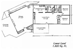 Elk Creek Vacation Home Lower Level Layout